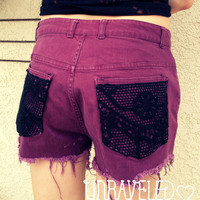 Vintage Denim High Waist Cut off Shorts, STUDDED, CROCHET (Size Medium)