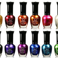 Kleancolor FULL SIZE METALLIC Lot of 12 Nail Polish Lacquer FREE SHIPPING