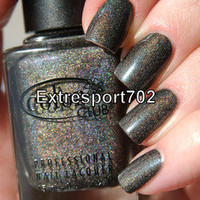 Color Club ~ REVVVOLUTION ~ Holographic Shimmer Dark Charcoal Nail Polish
