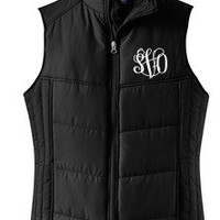 Monogrammed Puffy Vest | Preppy Outerwear | Marley Lilly