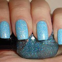 1 New CUTE Kleancolor BLUE Sparkly Rainbow Color Glitter Nail Polish