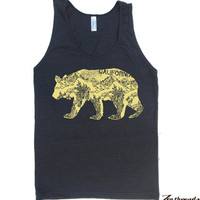 Unisex California BEAR Tri Blend Tank american by ZenThreads