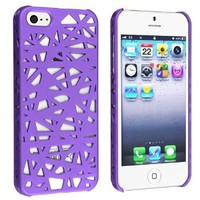 Amazon.com: eForCity Snap-on Case Compatible with Apple iPhone 5, Dark Purple Bird Nest Rear: Cell Phones &amp; Accessories