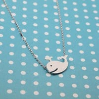 Cute whale charm Necklace in silver color
