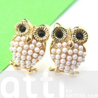 Cute Owl Bird Animal Stud Earrings in Gold with Pearl like Details