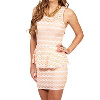 Peach Chevron Print Peplum Dress