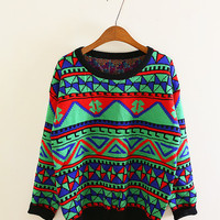 Geometric pattern sweater knit