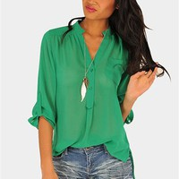 Mira Blouse - Kelly Green  at Necessary Clothing