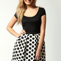 Steph Solid Top Spotted Lantern Dress