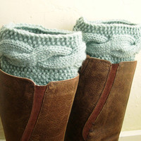Mint knit boot cuffs - Mint Leg Warmers - Cable boot toppers  - Winter Fashion 2013 - Machine Washable - WINTER SALE - pastel green