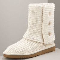 Classic Cardy Crochet Boot, Cream