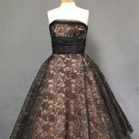 Gorgeous Pink & Black Lace 1950s Cocktail Dress VINTAGEOUS VINTAGE CLOTHING