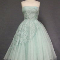 Robins Egg Blue Asymmetrical Lace & Tulle Vintage Prom Dress VINTAGEOUS VINTAGE CLOTHING
