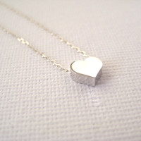 Sterling Silver Necklace With Tiny Heart Bead - With A Little Heart | Luulla