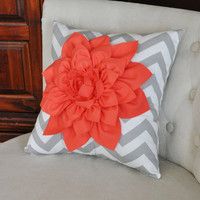 Coral Dahlia on Gray and White Zigzag Pillow -Chevron Pillow-