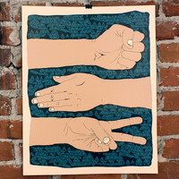 $30.00 Rock Paper Scissors Hand printed Art print by nateduval on Etsy