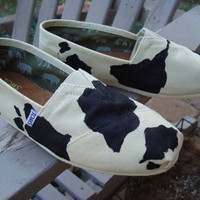 cow print painted on TOMS shoesmade to order by ArtfulSoles