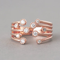 GYPSOPHILA CUBIC ZIRCONIA WRAP RING ROSE GOLD WRAP AROUND RING from Kellinsilver.com