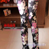 Fashion Women Sexy Black Rose Flower Graffiti Soft Stretch Leggings Tight Pants