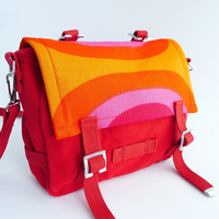 Messenger Bag - Marimekko - Bike Bag - Red Orange Pink Purple