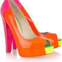 Brian Atwood | Alima neon patent-leather pumps | NET-A-PORTER.COM