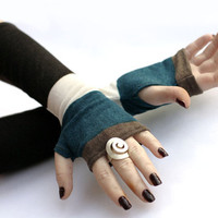 Black and Turquoise stripes arm warmers, fingerless gloves, mittens, Hand Warmers , Cuffs , wool, knitted, cotton, urban clothing