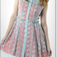 Aqua Vintage Inspired Lace Dress w Orange Lining
