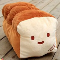 Dual Face Bread Plush Bolster Cushion Pillow