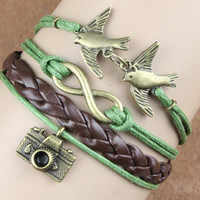 vintage camera bracelet lover birds bracelet bronze by itouchsoul