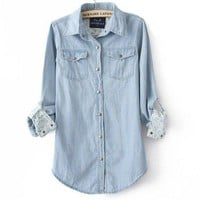 Light Blue Denim Shirt Floral Print