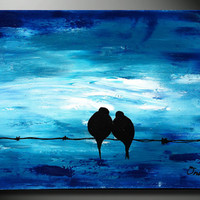 BLUE Art Painting - Original Painting, Wedding Gift, Blue Abstract Acrylic on canvas landscape painting, texture, impasto pallete knife