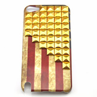 iPod touch 5 hand Case Cover with golden pyramoid stud for appleipod touch 5 hard Case, ipod touch 5 case  s 10