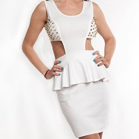 White Studded Peplum Cut Out Cocktail Dress  Tanny&#x27;s Couture LLC