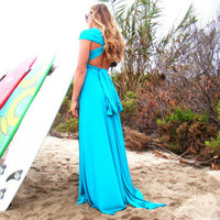 Octopus Convertible Wrap Gown Honolua Turquoise by CoralieBeatrix