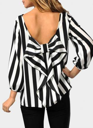 Black And White Bow Back Blouse 9