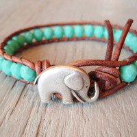 Elephant turquoise leather wrap bracelet, &quot;Baby Elephant&quot;,  aqua blue, distressed brown leather, southwestern, good luck charm, lucky boho
