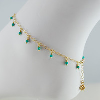 Genuine Turquoise Anklet Tiny Dangles Gold Jewelry by livjewellery