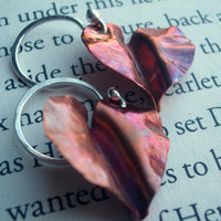 Heartshaped Leaf Earrings by torchandhammer on Etsy