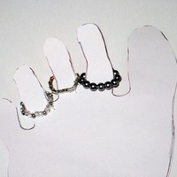 Stretch Cord Toe Rings Gray Silver and Clear Beaded, Set of Three