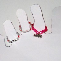 Beaded Stretch Cord Toe Rings with Love Charm, Set of 3 Pink and Red