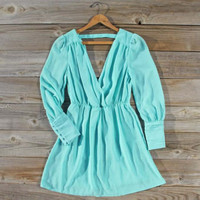 Mint Clover Dress, Sweet Women's Bohemian Clothing