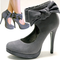 Gray Suede Pumps With Side Zipper