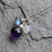 Dusk  Amethyst Labradorite and Rainbow Moonstone by ForgedInLife