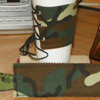 Camouflage Coffee Cozy w/ Adjustable Leather by NorthwoodsWhimsy