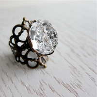 Nostalgic Rose Ring - Vintage Lucite In Crystal Clear (adjustable) - Last Piece | Luulla