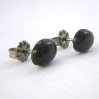 Rainbow Obsidian Titanium Post Earrings, 6 x 8 mm