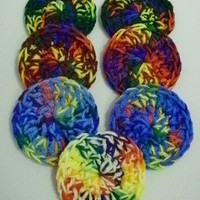 Rainbow Crochet Scrubbies/Scrubbers - Handmade Set of 7