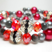 Memory Wire Bracelet Valentine&#x27;s Red Pearl Beaded Wrap Bracelet