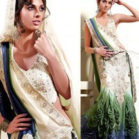 White Viscose Lehenga Style Saree With Blouse