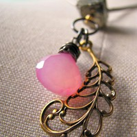 Flutter Necklace - Pyrite / Pink Chalcedony / Semi Precious Gemstones | Luulla